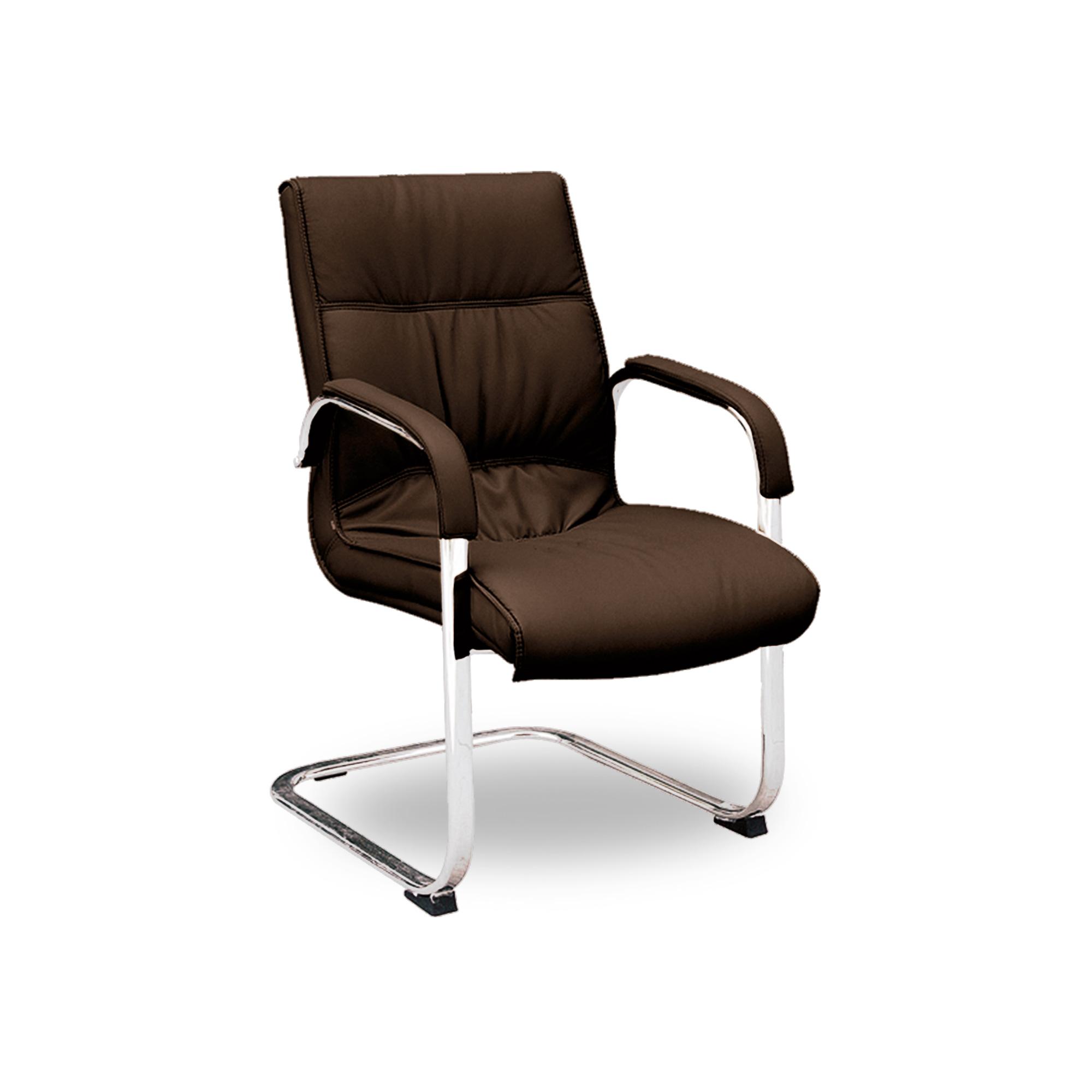 Cadeira Fixa Sky em Couro Ecológico – REF 0939 -Café